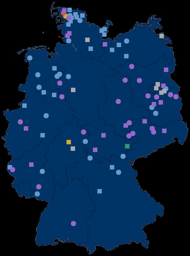 Deutschlandkarte mit Projektstandorten